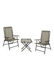 Set 2 sedie pieghevoli e tavolino con porta bicchieri (3 pz)