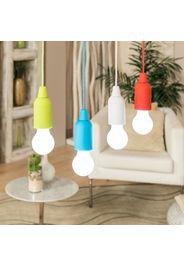 Set 4 lampade a batteria in diversi colori con tirante