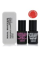 Kit base-top coat, buffer e smalto rosso semipermanente