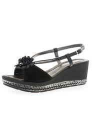 Sandalo in pelle con decoro floreale e zeppa 6.5cm
