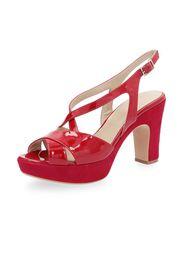 Sandalo in pelle con fasce incrociate e tacco 10.5cm