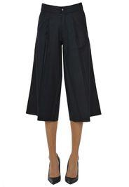Pantaloni cropped in lana