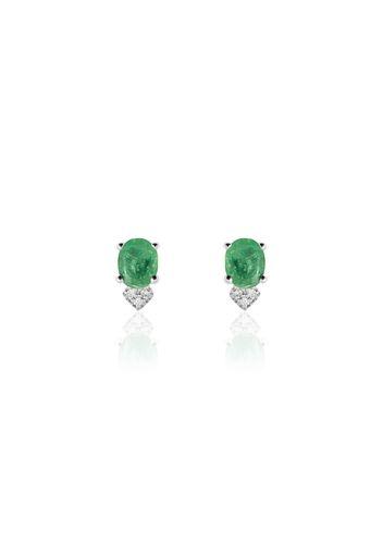 Orecchini in oro bianco 18kt, smeraldi e diamanti 0,03 ct per Donna
