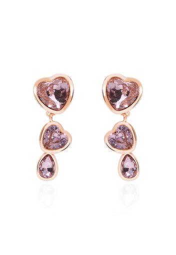 Orecchini pendenti in metallo rosato e pietre con cuori per Donna