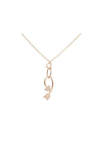 Collana in ottone rosato con pendente freccia di Cupido e cuore con strass per Donna
