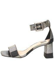 Sandalo in tessuto glitter Nero