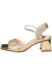 Sandalo in lurex e pelle laminata Oro