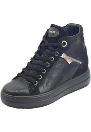 300 Capra Me. Parker Nero Sneakers Donna pelle nera lacci lampo