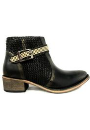 Bottines Flower Cuir Noir