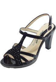 sandali eleganti tacco alto scamosciato vernice nera