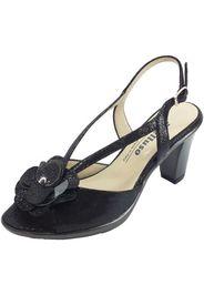 sandali eleganti tacco alto pelle squamata lucida nera