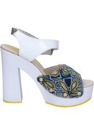 sandali bianco tessuto blu vernice AC487