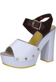sandali bianco pelle marrone AC809