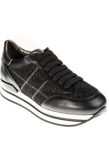 Hogan Sneakers fashion con zeppa da donna in pelle nera con brillantini