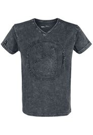 EMP Premium Collection - Grey T-shirt with Wash and Rockhand Appliqué - T-Shirt - Uomo - grigio