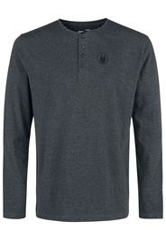 EMP Premium Collection - Mottled Grey Long-Sleeve Top with Buttons - Maglia a maniche lunghe - Uomo - grigio sport