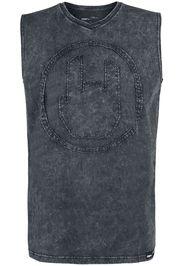 EMP Premium Collection - Grey Top with Wash and Rockhand Appliqué - Canotte - Uomo - grigio