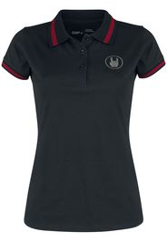 EMP Premium Collection - Black Polo Shirt with Embroidery and Red Details - T-Shirt - Donna - nero