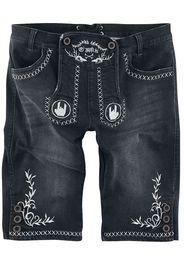 EMP Special Collection - Schwarze Shorts im Lederhosen-Look mit gestickten Rockhänden und Ornamenten - Shorts - Uomo - nero