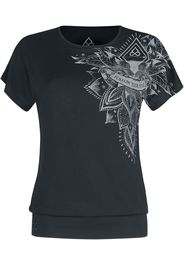 EMP Special Collection - Sport und Yoga - Schwarzes lockeres T-Shirt mit detailreichem Print - T-Shirt - Donna - nero