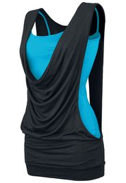Forplay - Open Double Layer - Top - Donna - nero turchese
