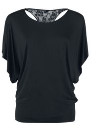 Forplay - Lace Back Bat Wings - T-Shirt - Donna - nero