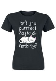Isn't It A Purrfect Day To Do Nothing? -  - T-Shirt - Donna - nero