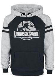 Jurassic Park - Silver Logo - Felpa con cappuccio - Uomo - nero grigio