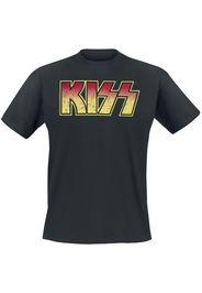Kiss - Distressed Logo - T-Shirt - Uomo - nero