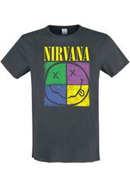 Nirvana - Four Square Smiley - T-Shirt - Uomo - carbone