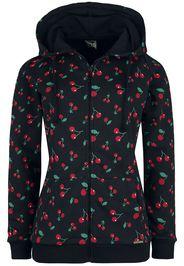 Pussy Deluxe - Cherries Hooded Zip-Jacket - Felpa jogging - Donna - nero rosso