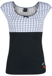 Pussy Deluxe - Plaid Evie Shirt - T-Shirt - Donna - nero blu