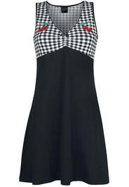Pussy Deluxe - Vichy Cherry Dress - Abito media lunghezza - Donna - nero bianco