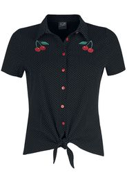 Pussy Deluxe - Dotties Cherry Blouse - Blusa - Donna - nero bianco