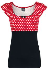 Pussy Deluxe - Red Dots Basic Shirt - T-Shirt - Donna - nero rosso