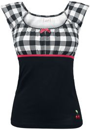 Pussy Deluxe - Evie Shirt Plaid - T-Shirt - Donna - nero bianco