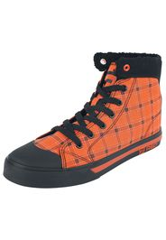 RED by EMP - Orange Lined Sneakers with Squared Pattern - Sneakers alte - Donna - arancione