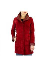 Giacca elegante reversibile da donna fatta a mano in pelle di renna e agnello rossa con bottoni 331/1 ROSSO