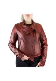 Giacca doppiopetto da donna in pelle rossa con cerniera SHARM ROSSO