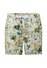 DEDICATED. Pantaloncini da bagno 'Sandhamn Tropics'  beige / verde / rosa / blu chiaro