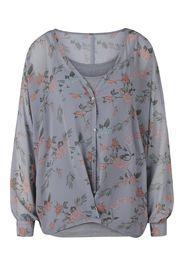 heine Camicia da donna  grigio / arancione chiaro / verde chiaro