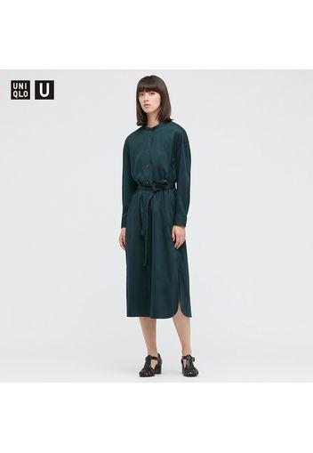 Vestito Uniqlo U Cotone Mercerizzato Con Cintura Maniche Lunghe Donna