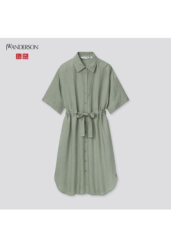 Vestito A Camicia Jw Anderson Misto Lino Con Cintura Maniche Corte Donna