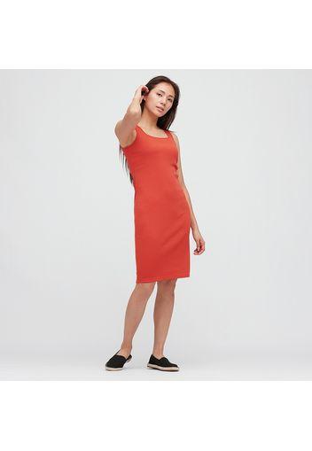 Vestito A Costine Collo Quadrato Senza Maniche Donna