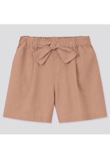 Shorts Cotone Misto Lino Con Cintura Bambina