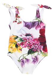 Dolce & Gabbana Kids flora print swimsuit - White