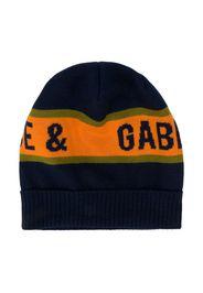 intarsia-logo beanie hat