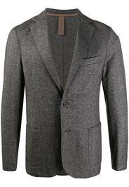 herringbone long-sleeve blazer