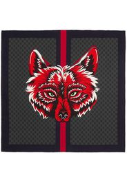 Gucci GG silk carré with wolf - Black