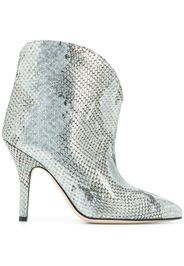 metallized embossed ankle boots